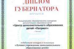 Диплом губернатора Лучшее учреждение ДОП 2008г.