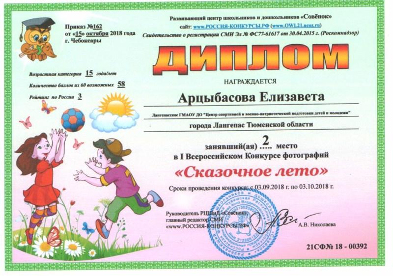 01_Диплом призёра Арцыбасовой Елизаветы